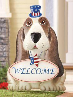 Patriotic Hound Welcome Garden Stake