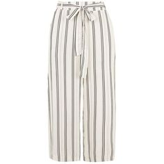 White Tie Waist Stripe Culottes (18 CAD) ❤ liked on Polyvore featuring pants, capris, bottoms, trousers, skirts, pantalones, flared pants, flare pants, white trousers and stripe pants