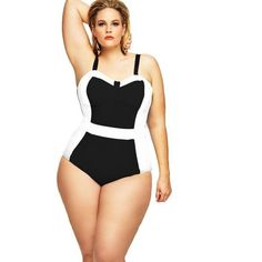 Plus Size Swimwear For Women, One Piece, Black & White