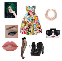 """Untitled #187"" by nikkidoesntcare on Polyvore featuring Moschino, Chantal Thomass, Alice + Olivia, Lime Crime and Kenneth Jay Lane"