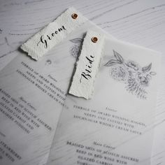 Personalised menus with vellum. This would be great to add some weight to the menus (think wind), and also assign meal choices! Wedding Stationery Sets, Wedding Stationery Inspiration, Handmade Wedding Invitations, Stationery Design, Personalized Wedding, Wedding Inspiration, Diy Wedding Menu, Wedding Paper, Wedding Cards