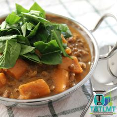 Indian Inspired Sweet Potato, Spinach and Lentil Stew – The Road to Loving My Thermo Mixer Lentil Stew, Lentil Curry, Spinach Curry, Stewed Potatoes, Lentil Recipes, Vegetarian Recipes, Chicken And Vegetables, Main Meals, Soups And Stews