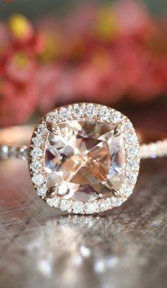 Halo Diamond Morganite Engagement Ring in 14k Rose Gold