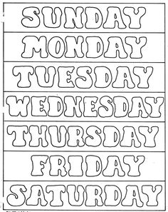Days Of The Week Printables | ELEMENTARY SCHOOL ENRICHMENT ACTIVITIES: DAYS OF THE WEEK