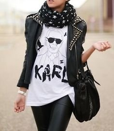 Leather jacket, print tee (Karl Lagerfeld) and leather pants