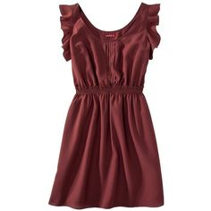 Merona Womens Ruffle Sleeve Woven Dress Assorted Colors ($6.98) ❤ liked on Polyvore featuring dresses, vestidos, tops, woven dress, merona, braid dress, frill sleeve dress and red dress