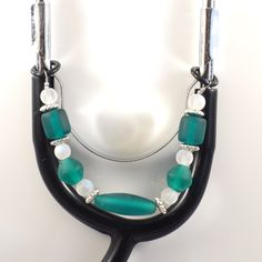 Women's Beaded Stethoscope Charm Teal and White with Silver Accents by DungleBees on Etsy