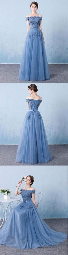 Blue tulle lace off shoulder long prom dress, bridesmaid dress, M00020#prom #promdress #promdresses #longpromdress #promgowns #promgown #2018style #newfashion #newstyles #2018newprom #bridsmaid #lacetulle #blue#offshoulder