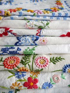 Beautiful stack of tablecloths, better out than hidden away in the closet.