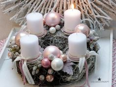 Advent wreath - Advent wreath - a unique product by tulip-dekoCONZEPT at DaWan . - Advent wreath – Advent wreath – a unique product by tulip-dekoCONZEPT on DaWanda - Christmas Advent Wreath, Noel Christmas, Pink Christmas, Christmas Crafts, Xmas, Christmas Candle Centerpieces, Christmas Decorations, Table Decorations, Vine Wreath