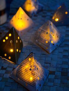 Hazlo tú mismo: Lámparas LED con papel de diario