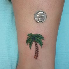 Palm Tree Color Ink Tattoo On Ankle
