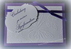 Einladungskarte Kommunion Konfirmation Taufe Firmung Danksagung Einladung quer mit Schmetterlingsprägung und Schleifenband in lila