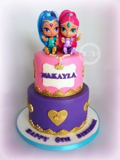 Shimmer And Shine Birthday Cake Ideas Shimmer And Shine Cake, Jasmine Cake, Bug Cake, Fantasy Cake, Birthday Cake Decorating, Occasion Cakes, Cupcake Cakes, Cupcakes, Creative Cakes
