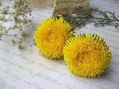 Dandelion hair clip for girls Ponytail yellow by SummerForYou