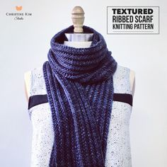 A variation on the classic ribbed scarf, this is a beautiful ribbed scarf knitting pattern adds some great texture and makes a great gift. $6 https://christinekimstudio.com/products/textured-ribbed-scarf
