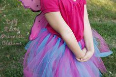 "DIY fairy princess tutu 2 spools of tulle, cut into 36"" strips, tie around elastic cut to waist size"