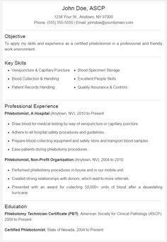 phlebotomy resume includes skills experience educational