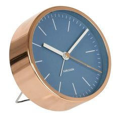 Copper-plated alarm clock with blue dial   hardtofind.