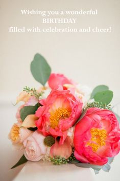 Free birthday card with peonies