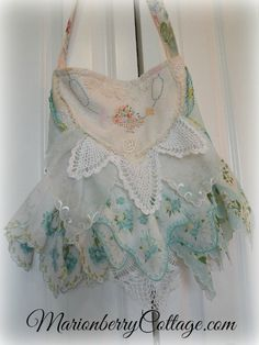 ~~AVON PURSE PROJECT~~FANCY HANDKERCHIEFS TOO!!!~~~Vintage Gypsy boho hankie ruffles slouchy handbag