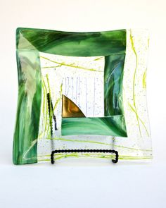 Green Fused Glass Mosaic Square Platter by FusionIllusion on Etsy, $95.00