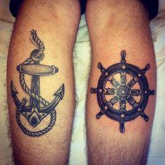 Nautical Tattoo's - anchor and ships wheel