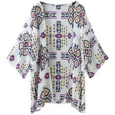 Chicnova Fashion Beach Cover Up ($10) ❤ liked on Polyvore featuring swimwear, cover-ups, tops, beach, kimono, over, shirts, print swimwear, chiffon cover up and beach wear