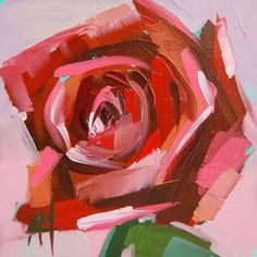 Red Rose original floral oil painting by Moulton 4 x 4 inches on panel prattcreekart