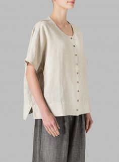 MISSY Clothing - Linen Wide S/Sleeve Blouse