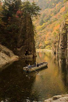 River Ferry, Sandankyo, Hiroshima, Japan 渡し船, 三段峡