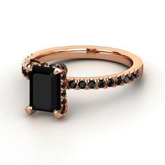 Emerald cut black 14K rose gold simple and classic