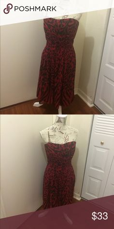 White House Black Market dress Gorgeous red and black dress. Worn once ; in great condition. White House Black Market Dresses Midi