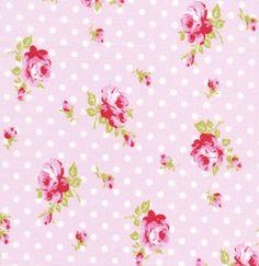 Vintage rose polka dot fabric, vintage pink rose fabric, floral and polka dots fabrics