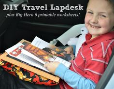 We're heading to Disney! Before we leave, I had to celebrate the release of Big Hero 6 with a travel lapdesk and free printable worksheets!