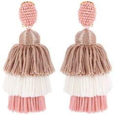 Oscar de la Renta Tassel Clip-on Earrings (36.230 RUB) ❤ liked on Polyvore featuring jewelry, earrings, pink, clip on earrings, clip earrings, fringe tassel earrings, tassel jewelry and pink jewelry