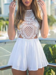 SheIn offers White Half Sleeve Lace Hollow Playsuit & more to fit your fashionable needs. Lace Playsuit, White Lace Romper, White Playsuit, Dress Lace, White Dress, Vintage Overall, Look Fashion, Womens Fashion, Trendy Fashion