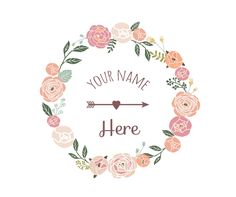 Pre-made floral wreath logo and watermark design - $20.00 and never re-sold