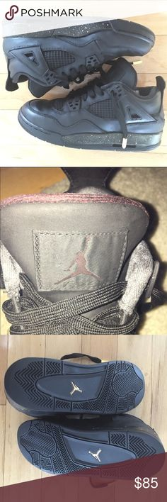 Jordan 4GS Newly Custom pre-owned Jordans. Matte Black with Gold Anglets authentic Jordans will make a great addition to any outfit!! These shoes come with new comfort soles that are attached and in black. The only thing to be concern of is that the insides of the shoes can be a little stiff due to paint. It's still comfortable to wear!! Jordan Shoes Sneakers
