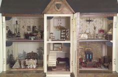 England, late 19th century, This stately dolls' house is reminiscent of the fine country homes of northern England and Scotland. Mrs. Sunstein purchased it from a dealer in London.