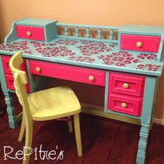Girls desk painted and distressed with a stencil top, painted furniture https://www.facebook.com/RePitres