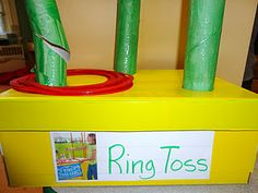 Gross motor games for the classroom made from recycled materials! Pe Activities, Movement Activities, Recycled Crafts, Recycled Materials, Recycling Games, Earth Day Games, Stars Classroom, Family Day Care, Kindergarten Games