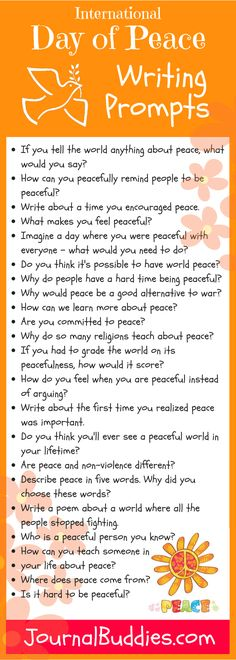 International Day of Peace is Friday, Sept Isn't it exciting to think that all it takes is one great writing prompt to spark a child's imagination about the possibilities of peace in our world! Writing Prompts Funny, Writing Lists, Writing Prompts For Kids, Teaching Writing, Teaching Tools, Journal Prompts For Teens, Journal Topics, Journal Writing Prompts, Fun Classroom Activities