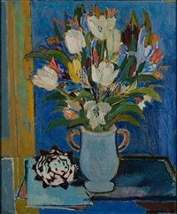 Still Life with Tulips - Tove Jansson Finnish, Oil on canvas, x 60 cm. Miss Moss, Tove Jansson, Classic Paintings, Moomin, All The Colors, Collage Art, Still Life, Folk Art, Oil On Canvas