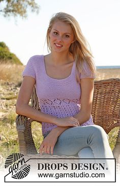 Ravelry: 148-11 Jodi - Top in garter st with short sleeves and lace pattern in Cotton Light pattern by DROPS design