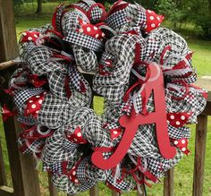 Alabama Crimson Tide, Deco Mesh, Roll Tide, Wreath on Etsy, $60.00