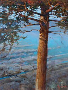 Brent Lynch - Fir Sentinel, Nanoose Bay - oil on board - 18 x 14