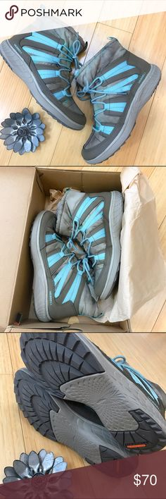 NWT MERRELL winter boots, 8.5 39. Brand new in box Merrell Pechora Pull short winter snow boots, ladies size 8.5. Officially the color is taupe, though these are kind of an aqua, brown, and green swirl. Lined in soft faux fur, super soft and perfect! Merrell Shoes Winter & Rain Boots