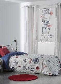 Idea de decoración habitación juvenil propuesta por Scenes: Funda Nórdica y  enrollable a juego.