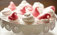 adorable christmas party ideas....including..santa hat & snowman meringue